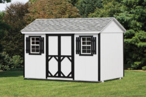 8x12 Wood A-frame White Shed